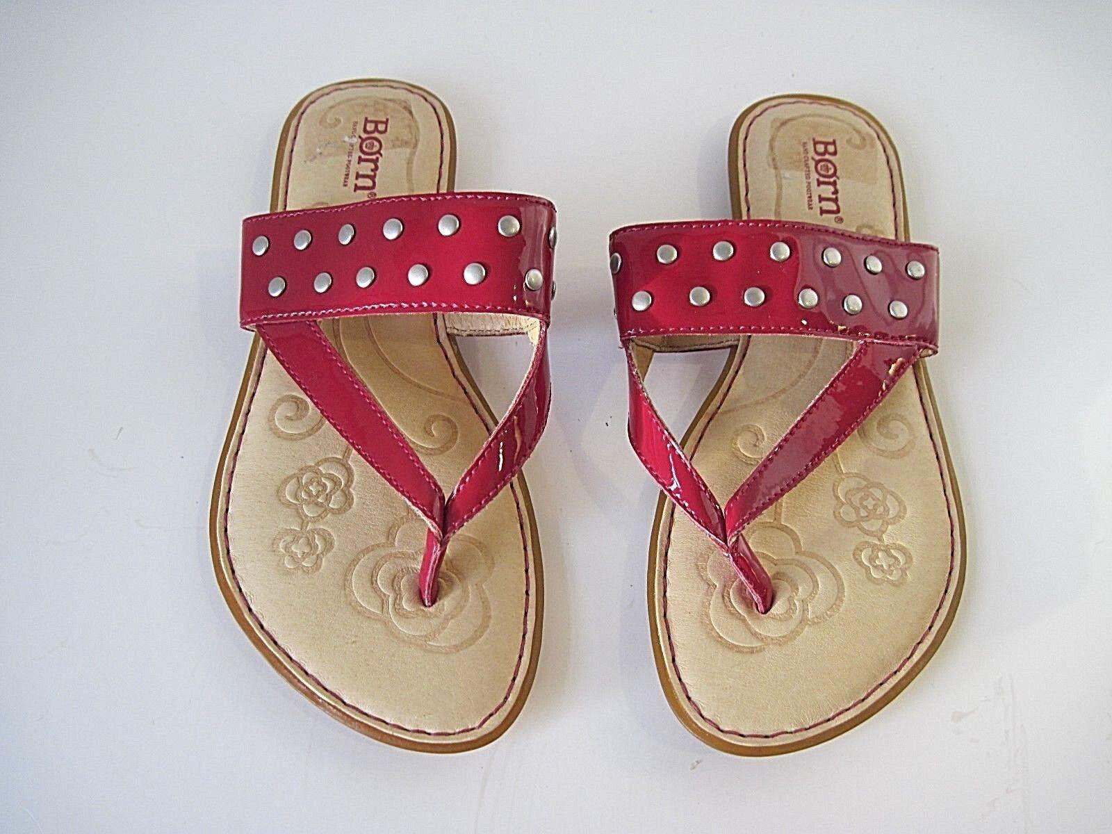 cc7daae6e0f00 BORN KRYSTEN Burgundy Patent Leather Thong Sandal Slide Flat B42105 6 36.5  NEW