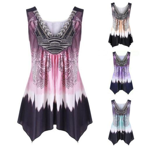 Womens Boho Floral Cami Vests Swing Dress Ladies Sleeveless Tank Tops Plus Size