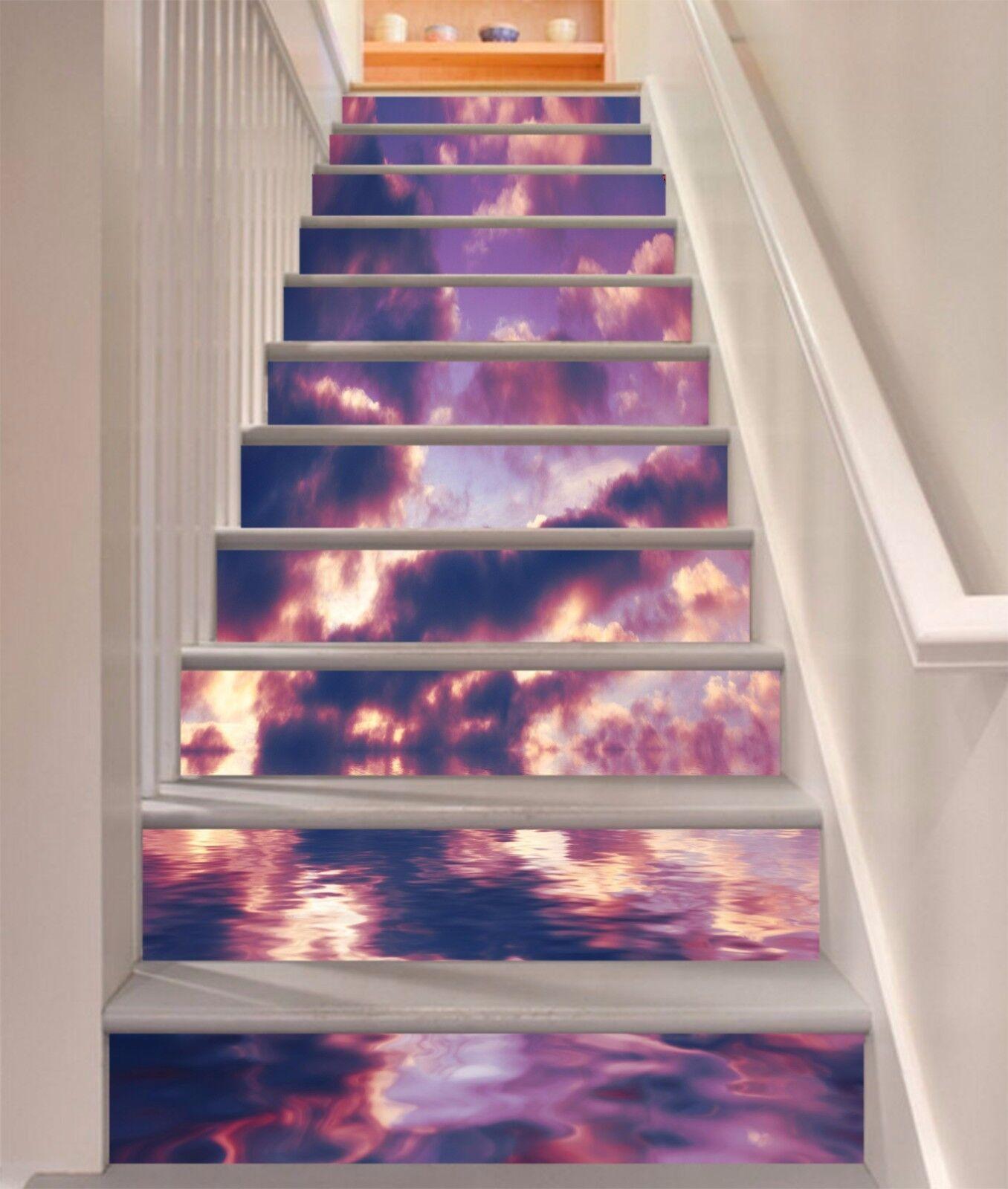 3D Sky Cloud 34 Stair Risers Decoration Photo Mural Vinyl Decal Wallpaper UK