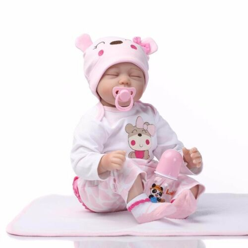 22/'/' Lifelike Baby Girl Doll Silicone Vinyl Reborn Newborn Dolls Kids Gift 55cm