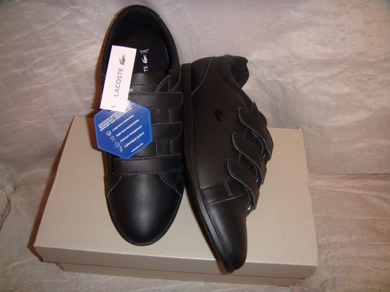 Lacoste Rey Strap 318 2  Womens shoes Sneakers  Hook Loop  Black Black  9.5  NIB
