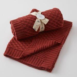 Jiggle & Giggle 100% Cotton Brick Basket Weave Knit Baby Blanket