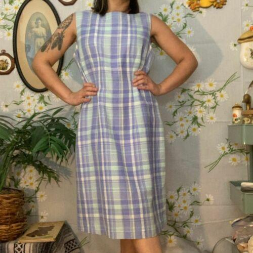 Vintage linen pastel madras plaid fitted dress