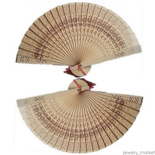 Chinese Wooden Bamboo Folding Hand Fan Wedding Party Flower Pattern 41