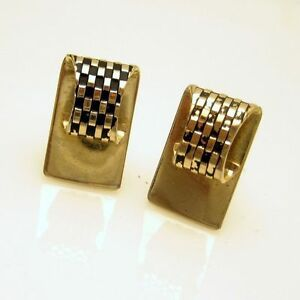 Vintage-Mens-Cufflinks-Cuff-Links-Mid-Century-Checkboard-Panels-Gold-Plated