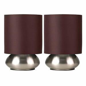 Minisun-Lot-de-Deux-Moderne-Lampe-de-Table-Tactile-Chrome-Ecrans-Marron