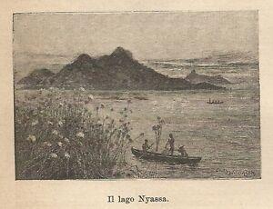 A9909 Lago Nyassa - Xilografia - Stampa Antica Del 1906 - Engraving