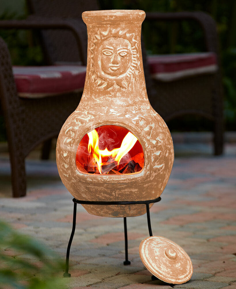 Outdoor Yard Garden Clay Chiminea Patio Fire Pit With Stand 34 H