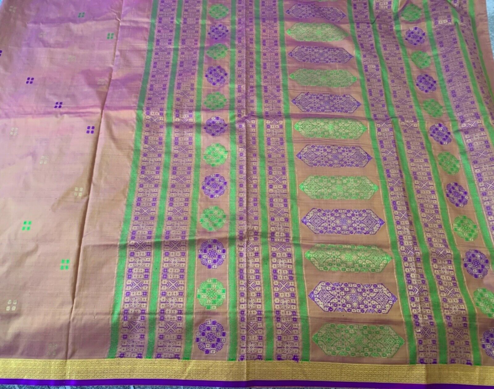 Rust two tone, Gold, Purple & Green Silk Saree with matching blouse