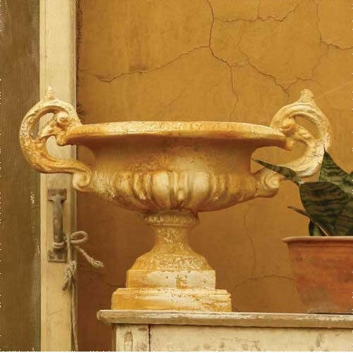 Small Emen Garden Urn Planter Orlandi Statuary Made of Fiberstone-12 H-FS234