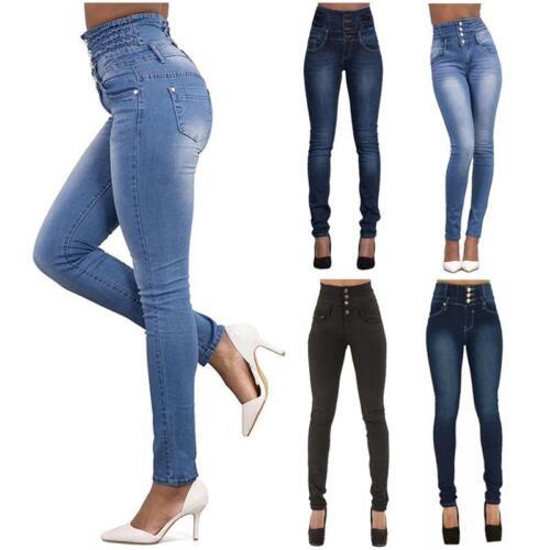 Donna Denim Pantaloni vita alta Jeans Skinny Stretch pencil Leggings Skinny Jegging