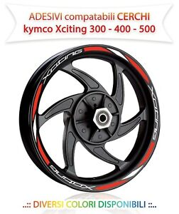 Adesivi-cerchi-ruote-compatibili-Kymco-Xciting-300-400-500-stickers-decals
