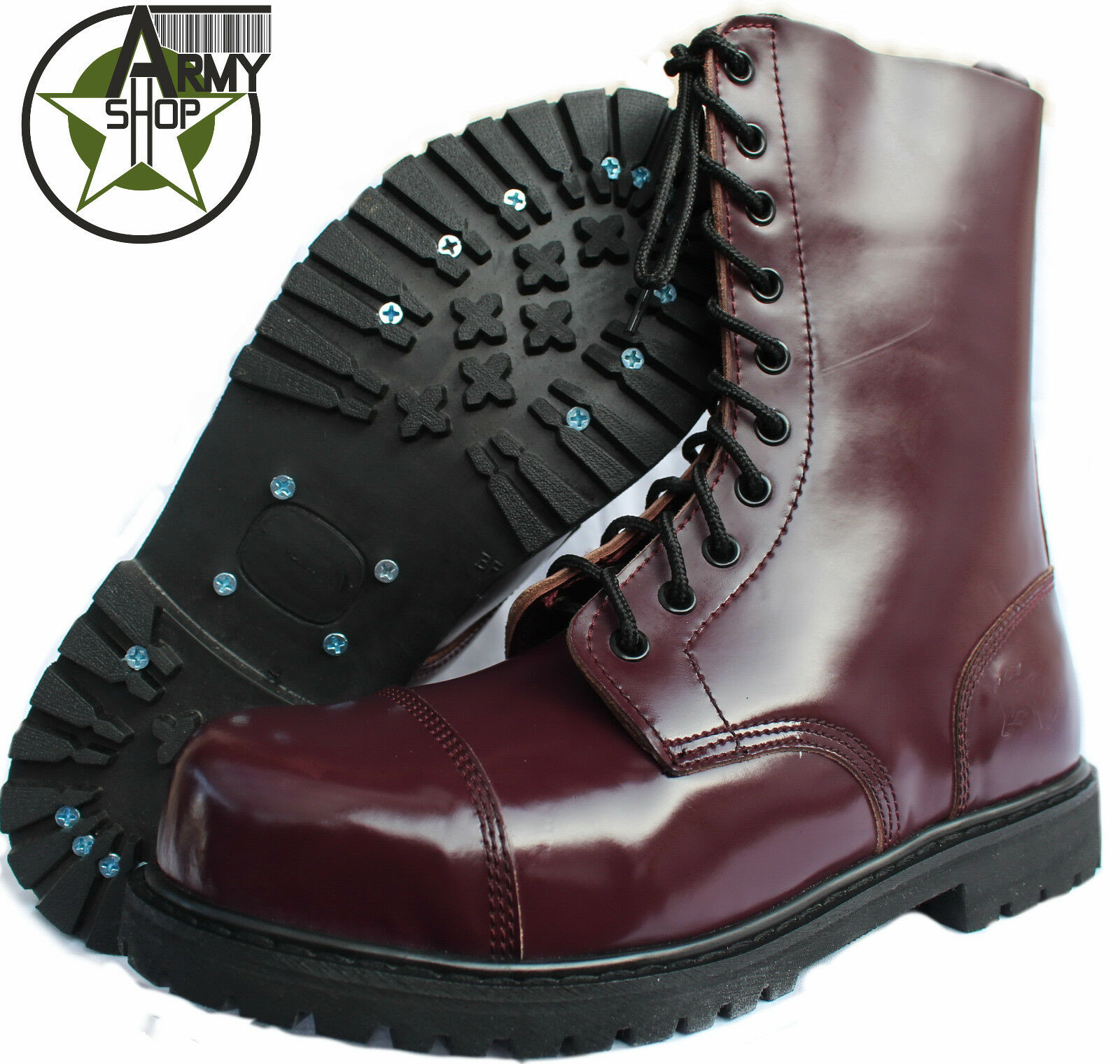 10 Loch Ranger Boots Kampfstiefel Springer Stiefel Rangers Bordeaux red Weinred