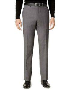 Calvin Klein Para Hombre De Vestir Pantalones Gris Tamano 33x32 Slim Fit Plano Frontal De Lana 69 106 Ebay