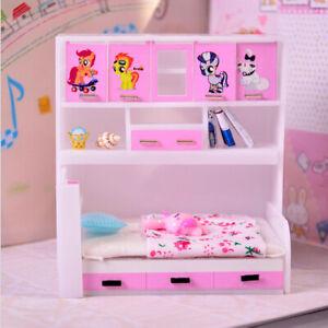 Details zu 1/12 Puppenhaus Miniatur Kinder Schlafzimmer Möbel Prinzessin  Kabinett Bett