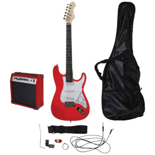 Red Johnny Brook Guitar Kit With Amplifier Leads Inc Pic Case /& Strap
