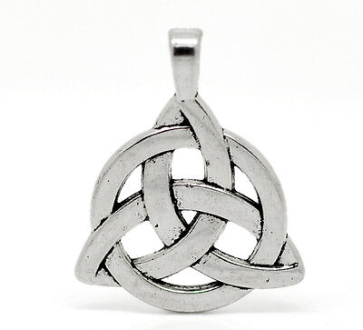"10 Silver Tone Celtic Knot Charm Pendants 35x27mm(1-3/8""x1-1/8"")"