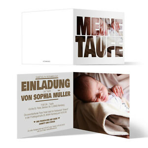 Details Zu Taufe Einladungskarten Fotoschrift Taufeinladung Klappkarte Bild Text