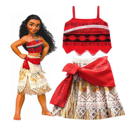 Moana Costume for Children Kids Princess Dress Cosplay Costume Halloween Girls