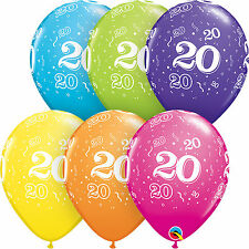 Qualatex 11 Age 20 Birthday Latex Balloons Tropical Colours Helium