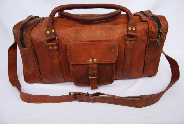 Men s genuine vintage Leather large duffle travel gym weekend overnight bag  20