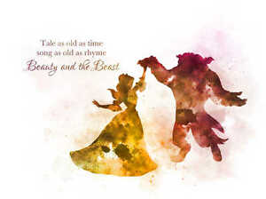 Art print beauty and the beast dance quote illustration disney image is loading art print beauty and the beast dance quote voltagebd Image collections