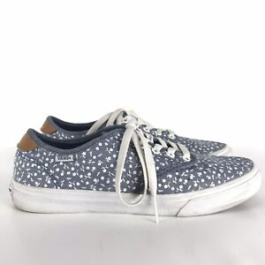 Vans-Womens-Blue-White-Floral-Canvas-Shoes-Sneakers-Sz-10-Flowers