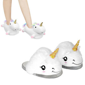 81e682af92fd 3D Unicorn Slippers with Anti-Slip Sole Indoor Warm Cute Soft Plush ...
