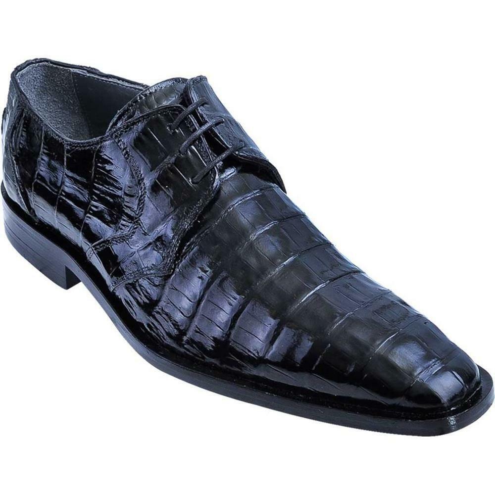 Men's Los Altos Black Caiman Belly Plain Toe bluecher shoes