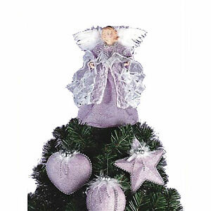 NEW-LILAC-CHRISTMAS-TREE-ANGEL-TOPPER-PLUS-3-MATCHING-DECORATIONS