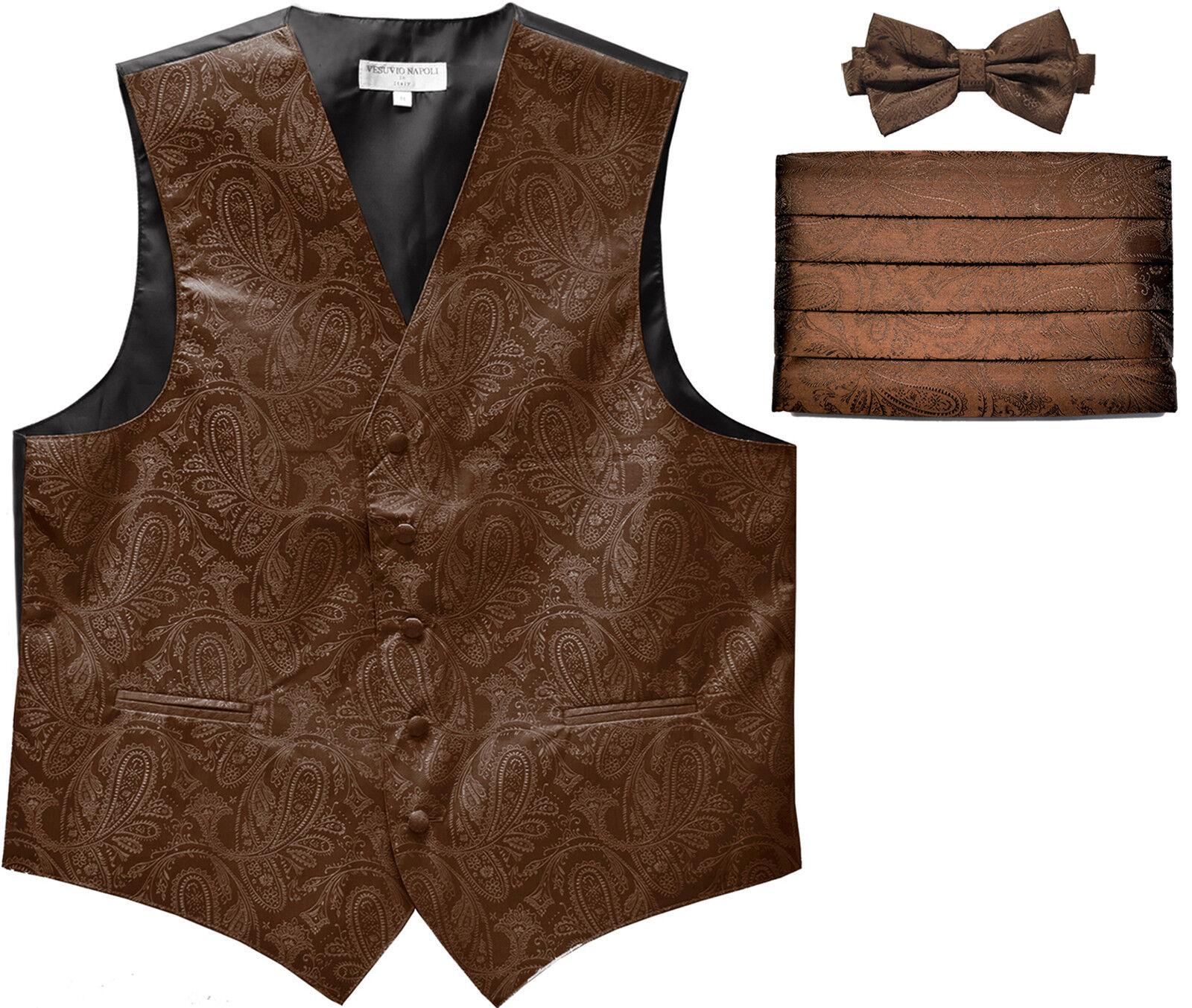 New Men's Paisley Tuxedo Vest Waistcoat & Cummerbund & Bow tie Wedding Brown
