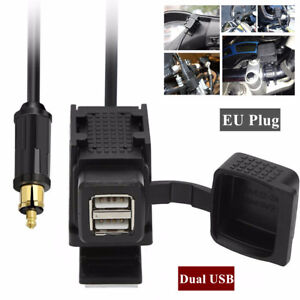 For-BMW-Motorcycle-Dual-USB-GPS-charger-Power-Socket-EU-Plug-w-Mounting-Bracket