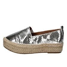 scarpe donna BRACCIALINI 38 mocassini espadrillas argento pelle AE550-C