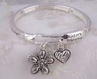 Silver Forever My Sister My Friend Stretch Bracelet Flower Fashion Jewelry