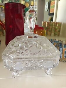 Vintage-Hand-Cut-Glass-CRYSTAL-4-footed-covered-candy-dish-Spinning-Star-8