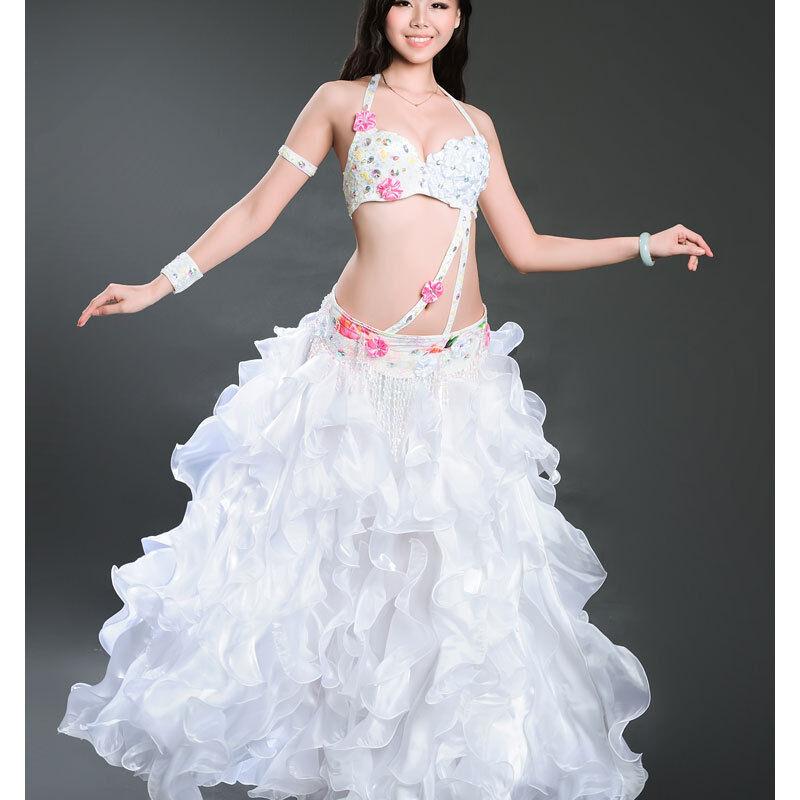 A012 Professionale Costume Danza Ventre 5 Parti REGGISENO+Cintura+Gonna+ 2 2 2 e0ebe9