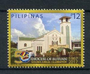 Filippine-2017-Gomma-integra-non-linguellato-diocesi-di-butuan-GIUBILEO-D-039-ORO-1-V-Set-chiese