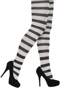New Ladies Black & White Striped Tights Halloween Party Fancy Dress Accessory
