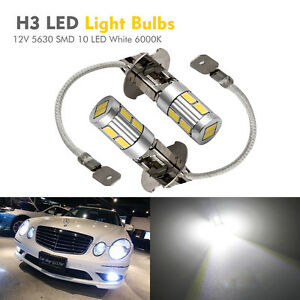 2X-H3-5630-SMD-10-LED-XENON-Lampe-Phare-Voiture-Lumiere-White-6000K-12V-Ampoule
