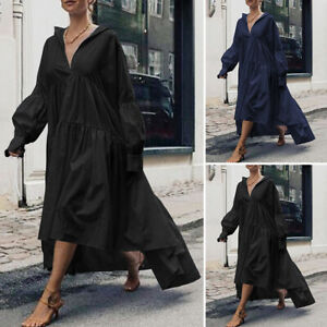 Mode-Femme-Ample-Col-V-Couture-Manche-Longue-Loisir-Party-Maxi-Grande-Taille