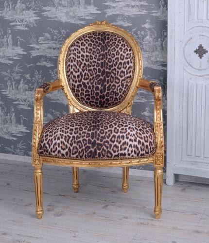 Barocksessel Leopard Gold Armlehnstuhl Sessel Barock Leo Stuhl
