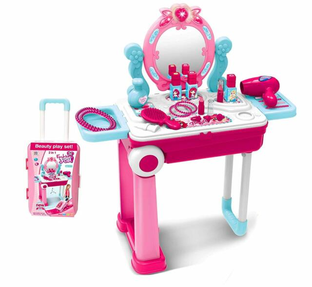 KIDS DRESSING MIRROR TABLE VANITY GIRLS TOY MAKEUP W//STOOL CHILDREN XMAS GIFT