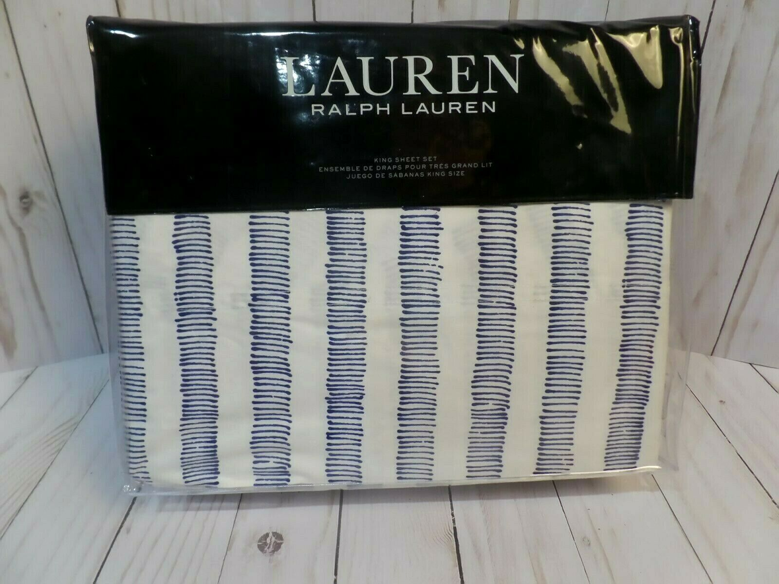 Ralph Lauren ANNALISE STRIPE King Sheet Set  4 pc NEW  220 - FREE 2 DAY FEDEX