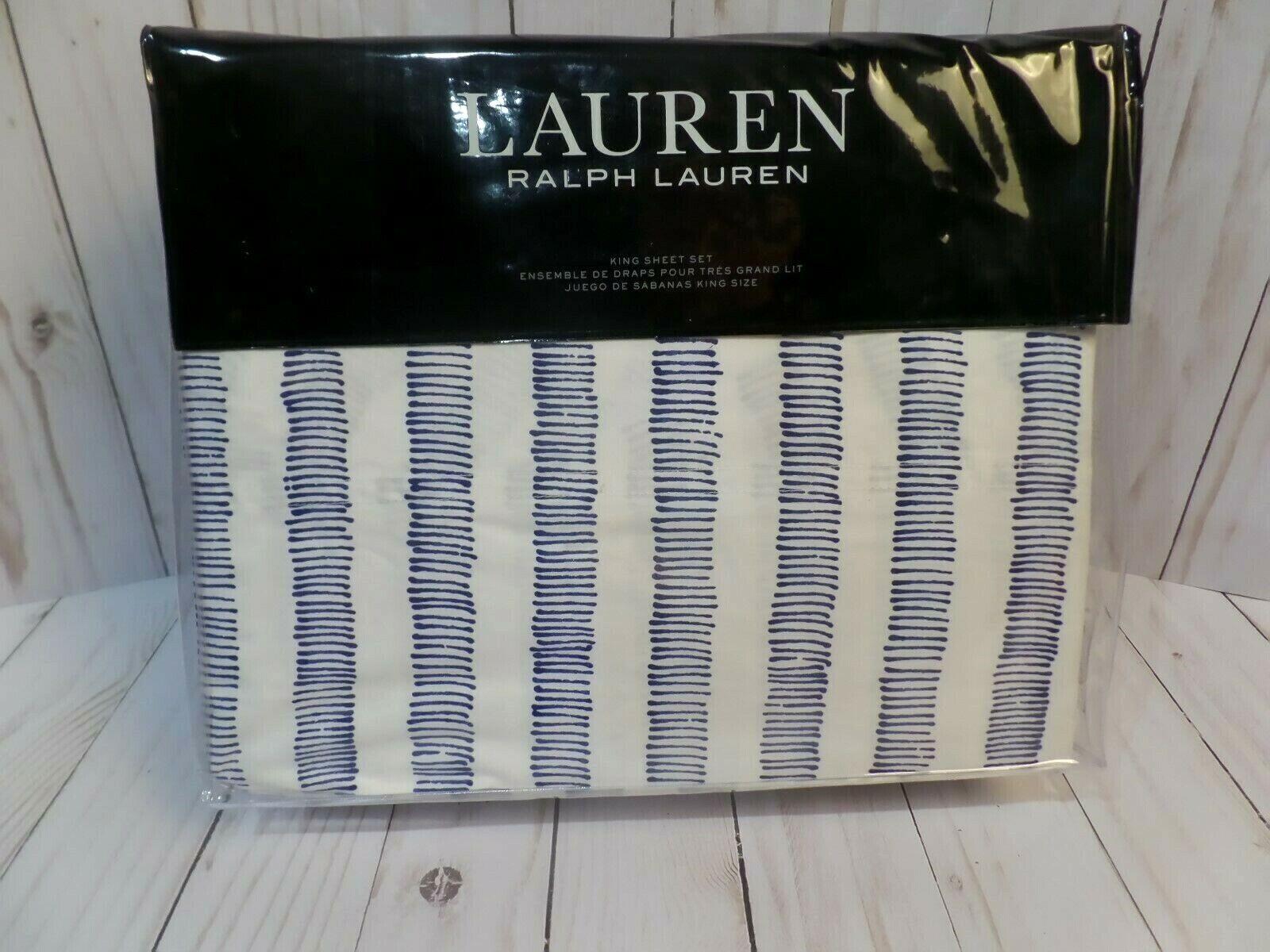 Ralph Lauren ANNALISE STRIPE King Sheet Set  4 pc NEW  220 - FREE 2 DAY FEDEX
