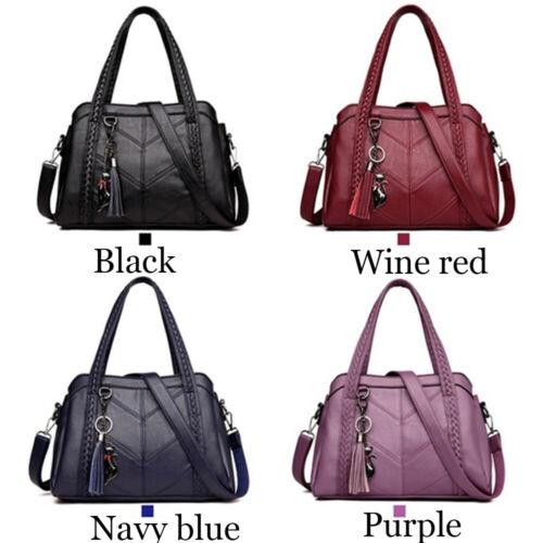 Capacity PU Leather Tassel Handbag Crossbody Bags Totes Women/'s Shoulder Bag