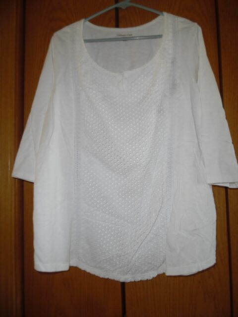 Coldwater Creek  White Eyelet Embroidered   Top Shirt Tunic Sz 2X