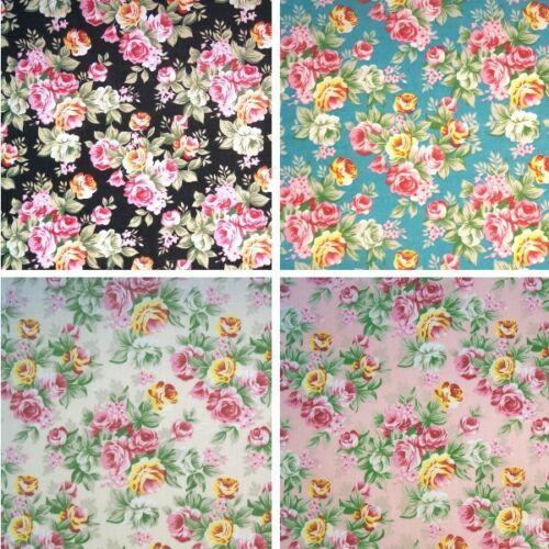 Polycotton Fabric Pink Roses Bunches Floral Flowers Rose