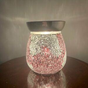 Red-and-Silver-Crackle-Electric-Wax-Warmer-Burner-amp-10-Scented-Melts-3133