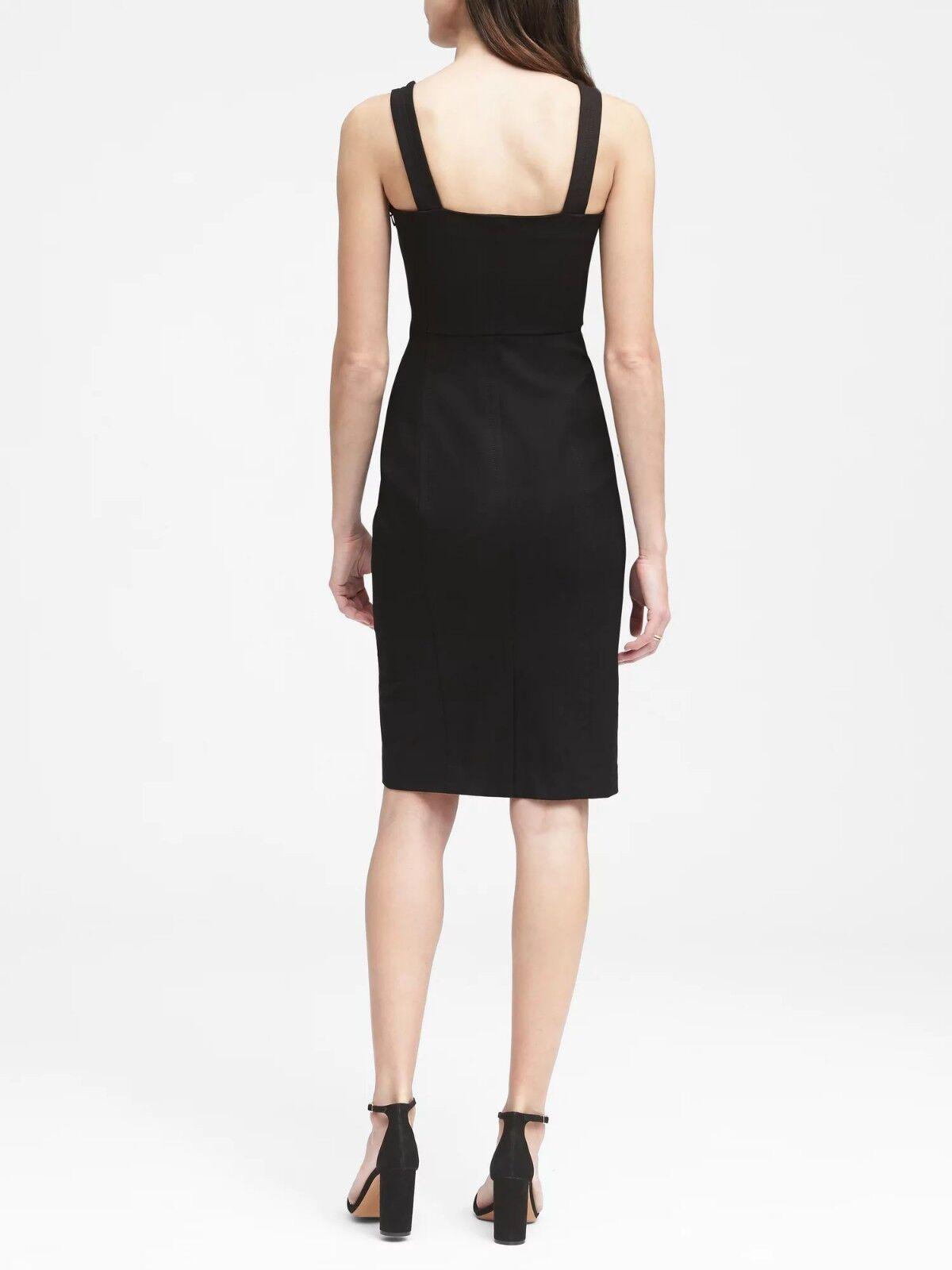 Banana Republic schwarz Square Neck Bi-Stretch Sheath Dress, Sz 4, NWT