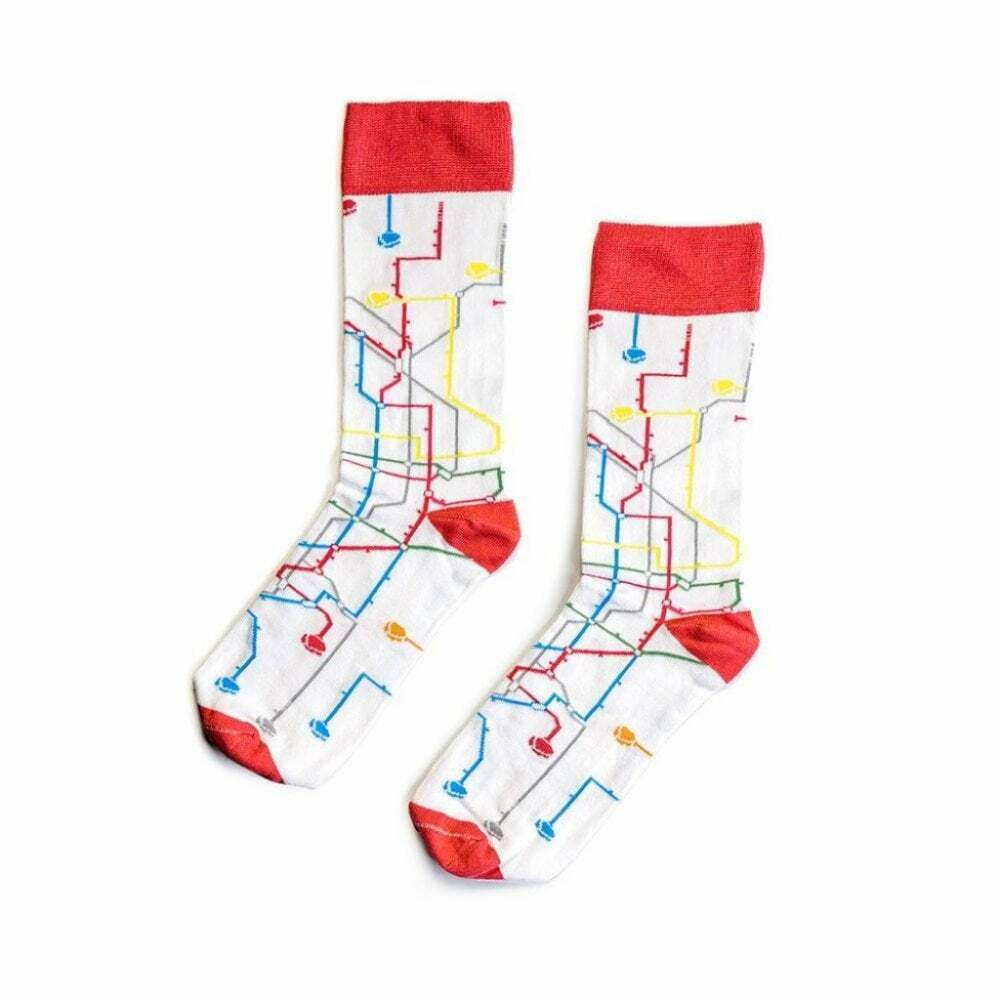 MTN Regular Socks - Metro City Style - 80% Cotton - White/Orange - M-L